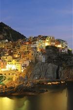 Itália, Manarola, Liguria, Luzes, Mar, Costa, Noite