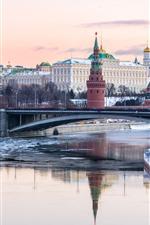 Vorschau des iPhone Hintergrundbilder Kreml, Moskau, Russland, Fluss, Brücke, Schnee, Stadt, Winter