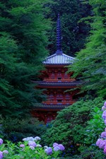 Preview iPhone wallpaper Kyoto, Japan, pink hydrangea, green trees, tower