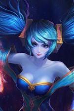 Preview iPhone wallpaper League of Legends, blue hair girl, beautiful