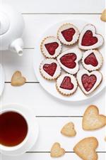 Aperçu iPhone fond d'écranAmour coeur biscuits, thé, tasse, fond blanc