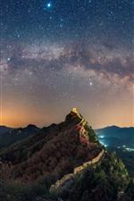 Montanhas, a grande muralha, estrelas, estrelado, céu, noite, china