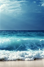 Preview iPhone wallpaper Nature scenery, blue sea, waves, foam, clouds, sun rays