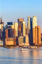 Vorschau des iPhone Hintergrundbilder New York, Boote, Küste, Wolkenkratzer, Stadt, USA