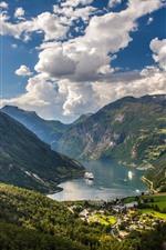 iPhone обои Норвегия, Гейренджер Фьорд, горы, долина, лодка
