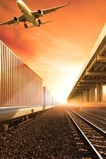 Preview iPhone wallpaper Railroad, train, station, aircraft, sky, sunrise, glare