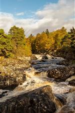 Vorschau des iPhone Hintergrundbilder Schottland, Fluss, Steine, Bäume, Herbst