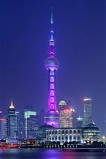 Vorschau des iPhone Hintergrundbilder Shanghai, Stadt, Wolkenkratzer, Lichter, Fluss, China