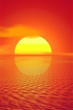 Preview iPhone wallpaper Sunset, sea, reflection, warm, creative picture