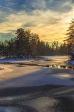 Preview iPhone wallpaper Sweden, snow, trees, river, winter, sunset