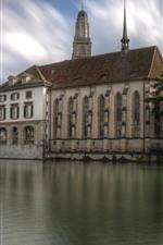 Vorschau des iPhone Hintergrundbilder Schweiz, Zürich, Brücke, Häuser, Baum, Fluss, Stadt