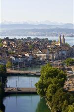 Preview iPhone wallpaper Switzerland, Zurich, city, river, bridge, trees, houses