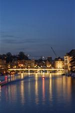 Preview iPhone wallpaper Switzerland, Zurich, river, bridge, lights, night
