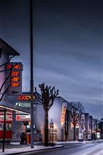 Preview iPhone wallpaper Switzerland, city, snow, street, houses, lights, evening