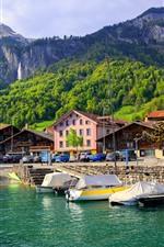 Preview iPhone wallpaper Switzerland, mountains, Lake Interlaken, boats, trees, green