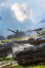 Preview iPhone wallpaper Tanks, dust, grass, clouds