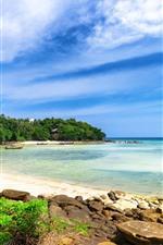 iPhone обои Таиланд, море, пляж, остров, деревья, голубое небо, облака
