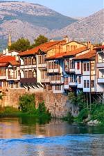 Preview iPhone wallpaper Turkey, Amasya, houses, river, bridge, mountains