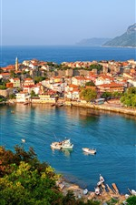 Preview iPhone wallpaper Turkey, bay, houses, boats, sea