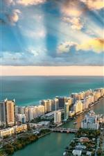 Vorschau des iPhone Hintergrundbilder USA, Miami, Stadt, Wolkenkratzer, Meer, Küste