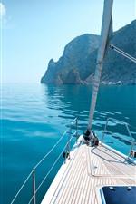 Preview iPhone wallpaper Yacht, rocks, blue sea, Greece