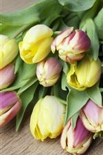 iPhone обои Желтые и фиолетовые тюльпаны, цветы, букет