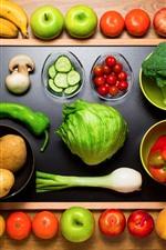 iPhone обои Фрукты и овощи, яблоко, банановый, персик, слива, картофель, нож