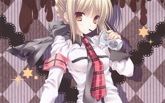 Wallpaper Anime girl drinking beverage