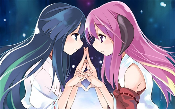 Wallpaper Anime girl face to face with each other