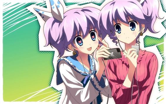 Wallpaper Anime girl listening to music