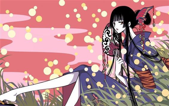Wallpaper Anime girl sitting on the grass