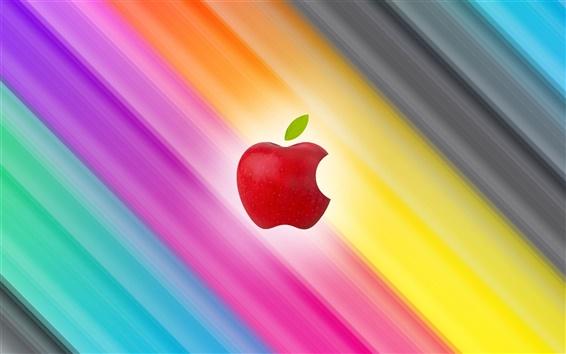 桌布 炫彩斜線背景蘋果