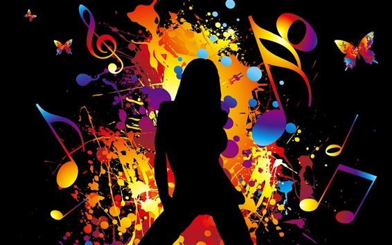 壁紙 カラフルなベクター音楽少女ダンス