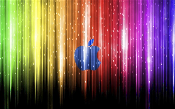 Wallpaper Colorful beam under the Blue Apple