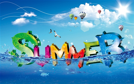 Wallpaper Colorful fresh summer water letter