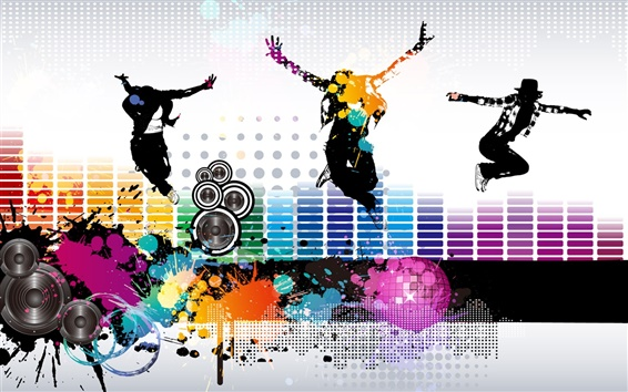 Wallpaper Colorful music fly vector
