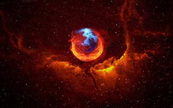 Wallpaper Firefox in space