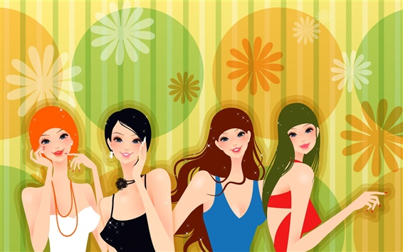 Wallpaper Four fashion girl vector