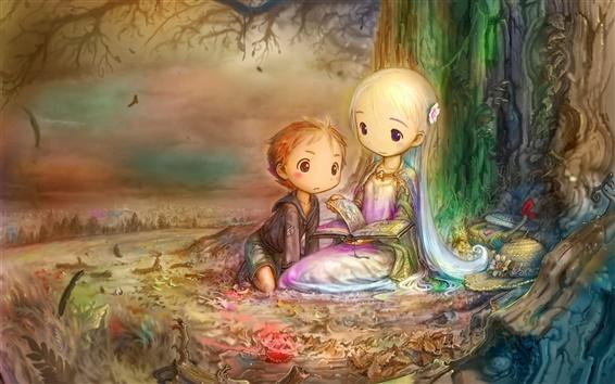 桌布 樹下看書的小女孩和小男孩