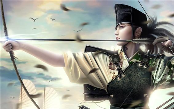 Обои Девочка лук меч