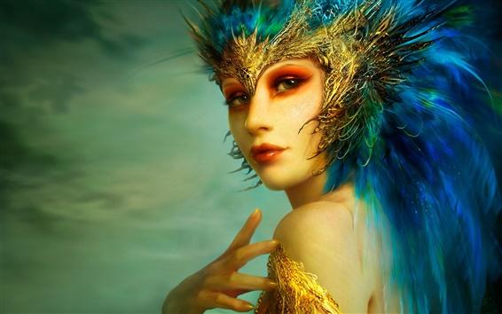 Wallpaper Golden Delicious fantasy girl blue hair