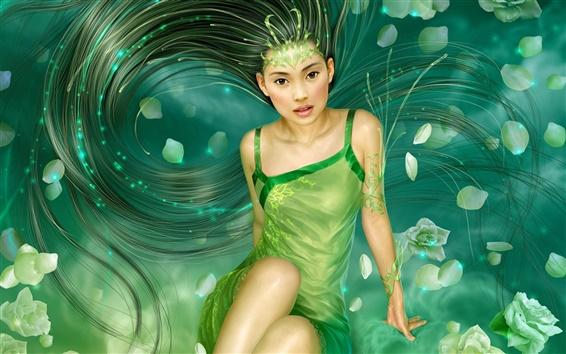 Обои Зеленое платье долго девушка волос