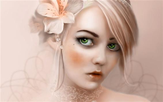 배경 화면 꽃 파는 소녀를 입고 녹색 눈