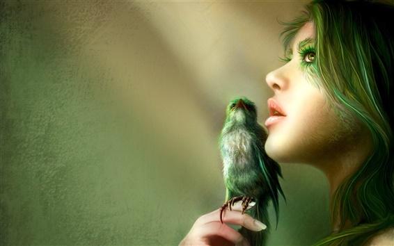Обои Зеленые волосы девушки с птицами