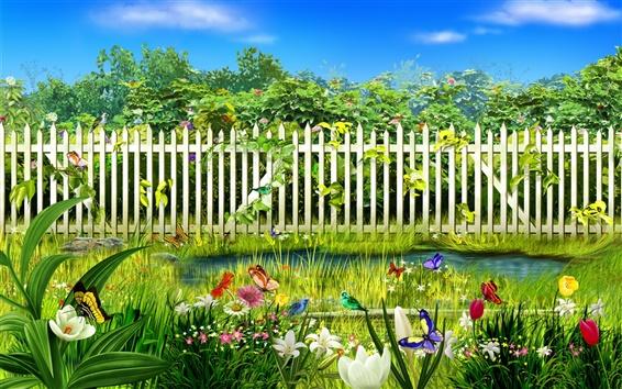 Fond d'écran Fleurs vert jardin de printemps