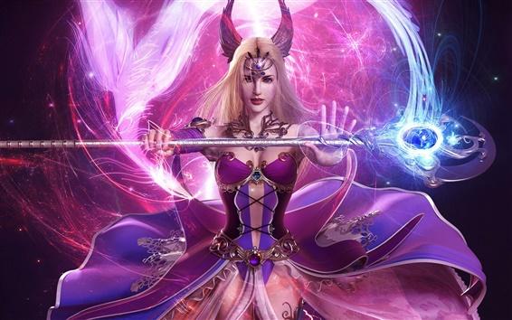 Wallpaper Hand-held wand purple girl