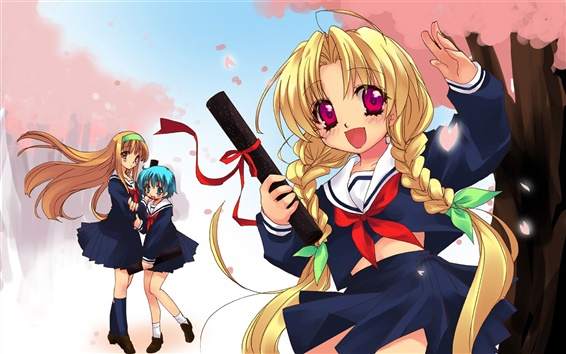 Wallpaper Happy anime girl