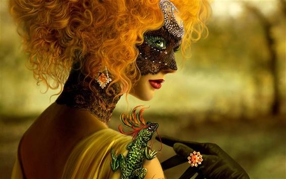 Wallpaper Lizard Mask girl