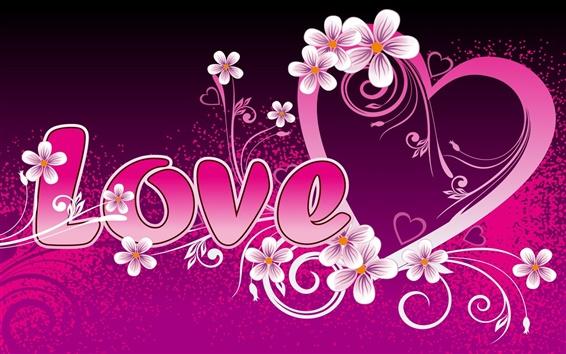 배경 화면 사랑과 하트 모양의 주변의 꽃을 사랑