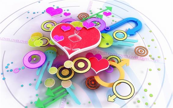 Wallpaper Love pink heart shaped 3D Design